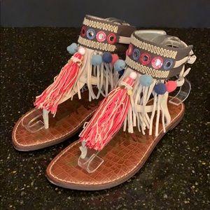 Sam Edelman Gere Fringed Ankle Strap Sandals. 7